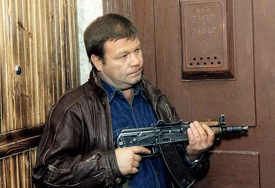 russian man with gun